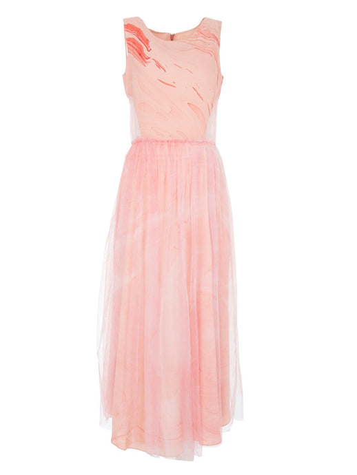 Edward Mongzar Silk & Tulle Hand Marbled Layered Cut Out Dress in Pink