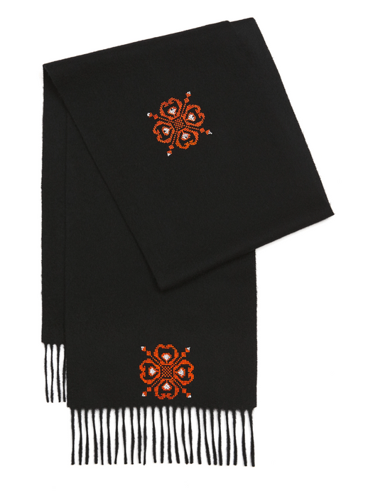 Hand Embroidered by Refugees Cashmere Flower Scarf