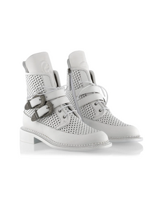 Ganor Zelos in White Buckle (Perforated) leather boots