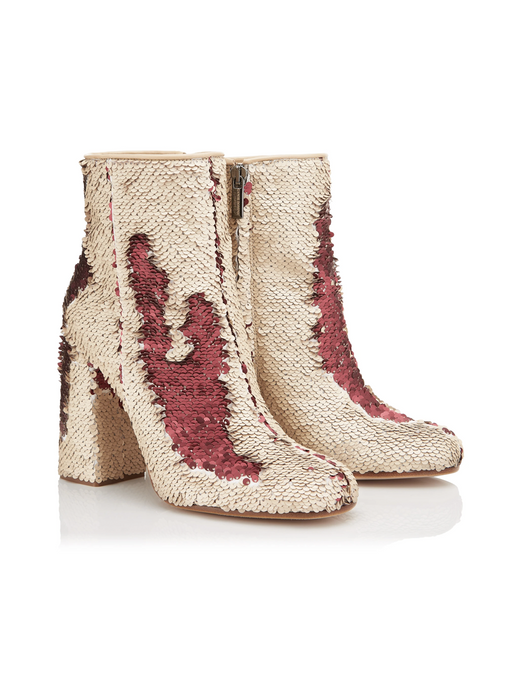 Ganor Chaos 100 Beige and Red sequin boot - LDC