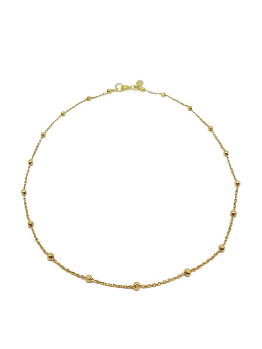 Gold Choker with Hammered Balls Chain