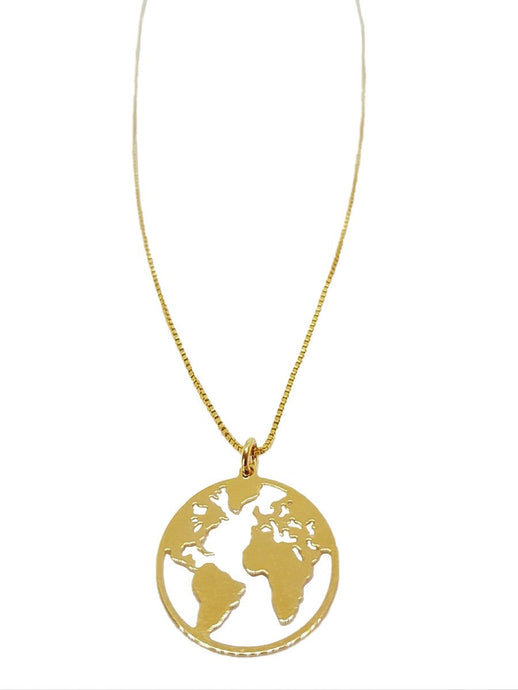 Gold Necklace World Charm