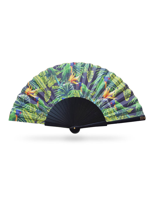 Green Parakeet Hand-Fan from Khu Khu. Jungle print with orange and red birds with leaves print mounted on black painted sticks and gold detailing.