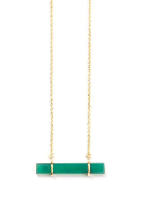Urban Bar Necklace in Green Onyx
