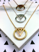 art deco style necklaces in silver, gold and rose gold