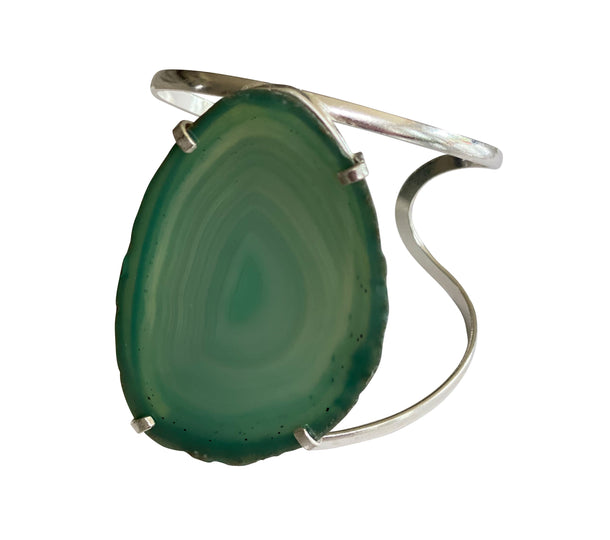 Guardian Angel Green Agate Cuff Gold