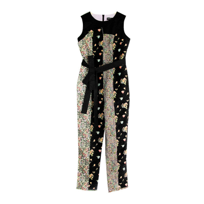 Brushed Cotton and Tapestry Patchwork Jumpsuit with Belt