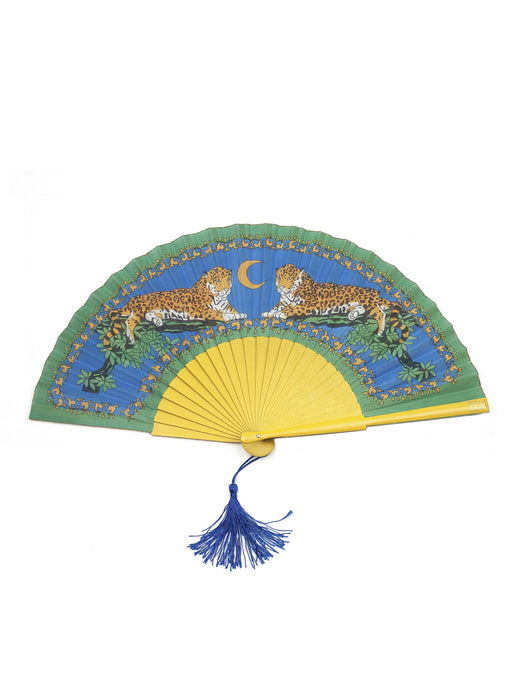 Lazy Leopard Hand-Fan from Khu Khu with yellow sticks and 2 symmetrical leopards sitting against a blue sky and moon