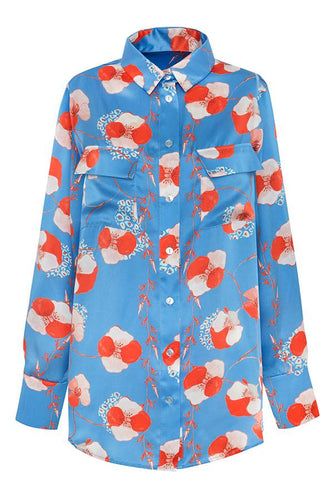 Ace shirt - Blue leopard flower - LDC