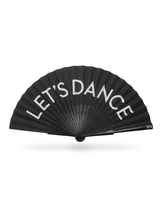 Khu Khu Let's Dance Hand-Fan. White letters on Black cotton fabric with black wooden sticks. White logo. Black rivets and fabric rim.