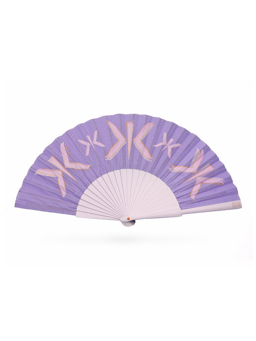 Khu Khu Lilac Letter Hand-Fan with layered screen-prints of the Khu Khu logo in lilac, pink and burnt orange. Cotton fabric and lilac sticks with orange logo/rivet and lilac rim.