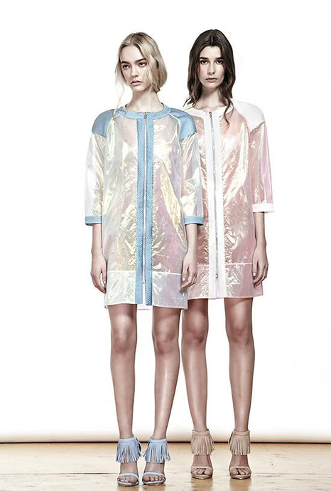 BLUE METALLIC TRANSPARENT RAINCOAT