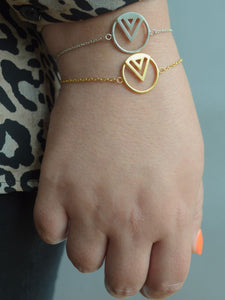 Enso stacking bracelets in gold veremeil and rose gold vermeil