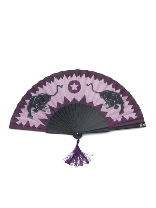 Pink Panther Hand-Fan from Khu Khu. 2 dancing panthers moving on top or a pink and burgundy jagged background. Purple tassel.