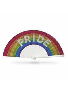 Khu Khu Pride Hand-Fan. hand-painted sparkly letters on rainbow print fabric mounted onto white painted wooden sticks with red painted rim and silver rivets, silver logo.