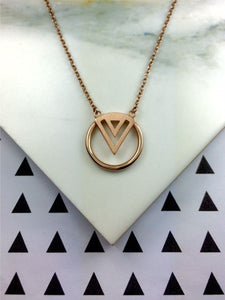 rose gold enso necklace