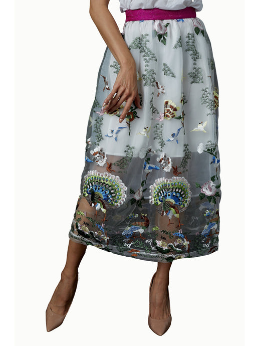 QiaoChu Embroidered Peacock Skirt