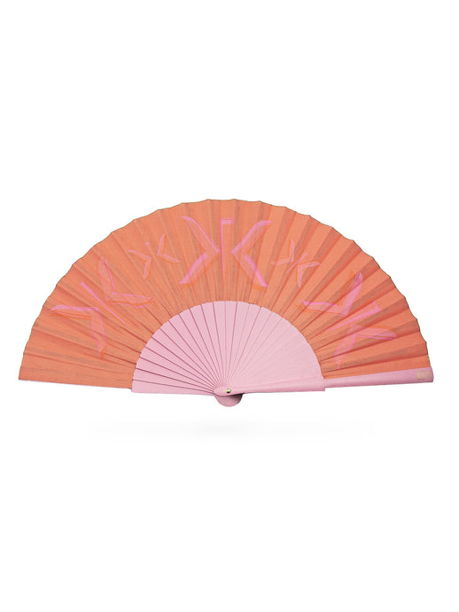 Khu Khu Signature Sunset Hand-Fan with layered 3-tone pink and coral screen-prints of the Khu Khu logo. Cotton fabric and pale pink sticks with gold logo/rivet and rim.