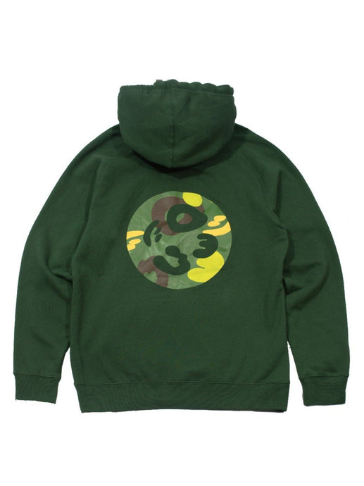 Cotton Pullover Hoodie - Camo Crest in Green