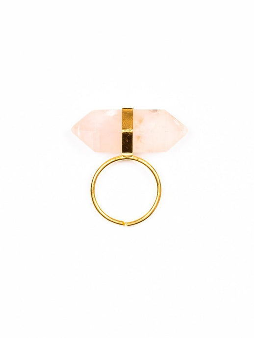 Goddess Bi-terminated Rose Quartz Gemstone Ring