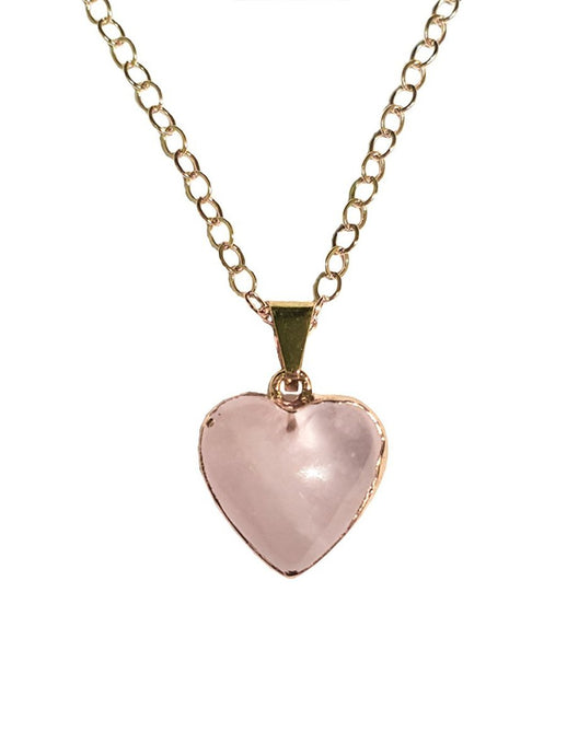 Rose Quartz Gemstone Heart Shaped Necklace Gold