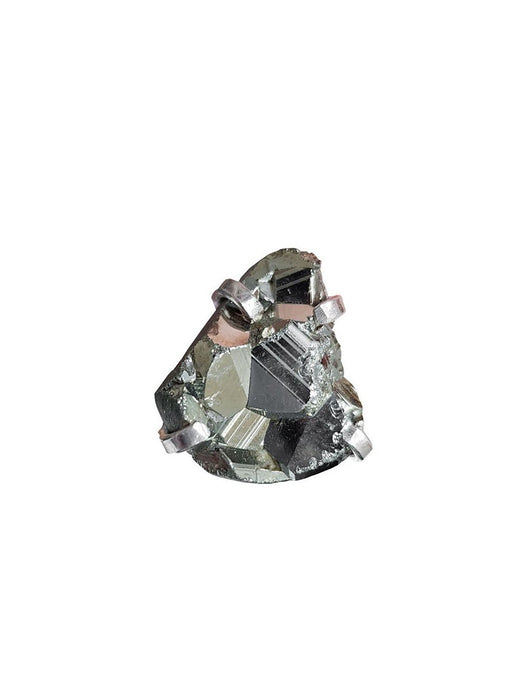 Pyrite Gemstone Cuff Ring Silver