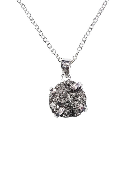 Mini Pyrite Gemstone Necklace Sterling Silver