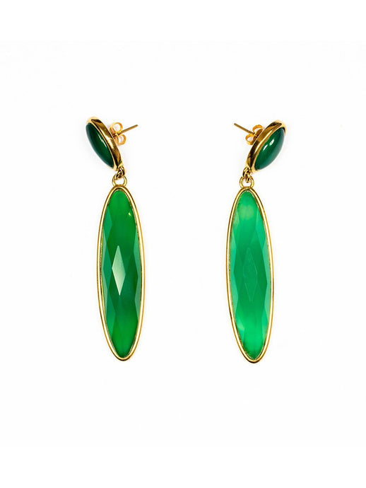 Green Cabochon Gemstone Earrings