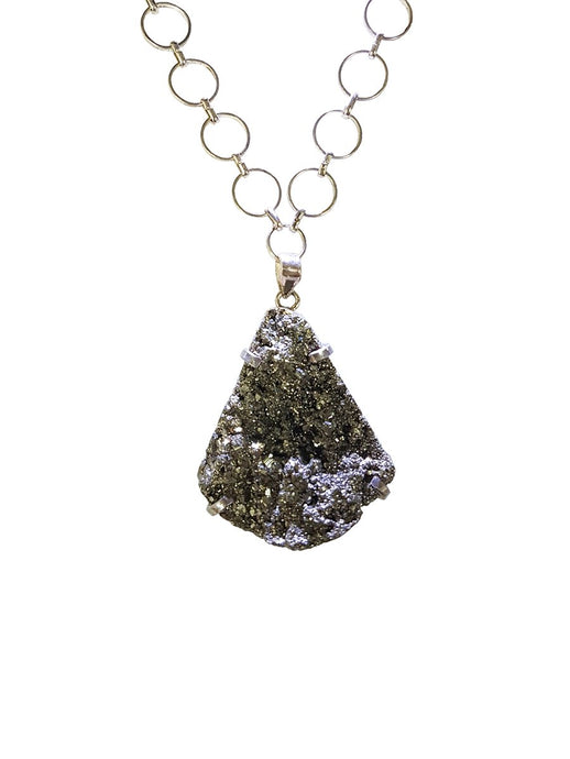 Pyrite Gemstone Vintage Chain Necklace Silver