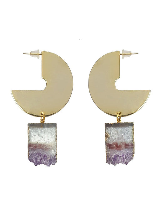 Desert Vibe Amethyst Sector Gemstone Earrings