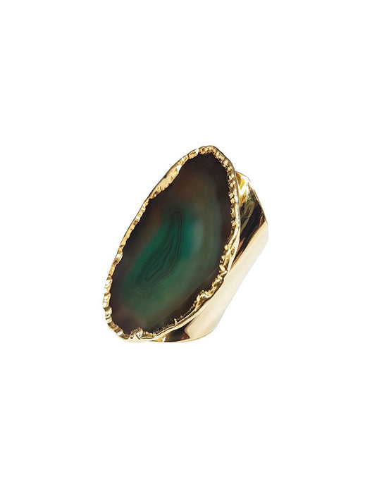 Elyssia Green Agate Gemstone Cuff Ring Gold Plated