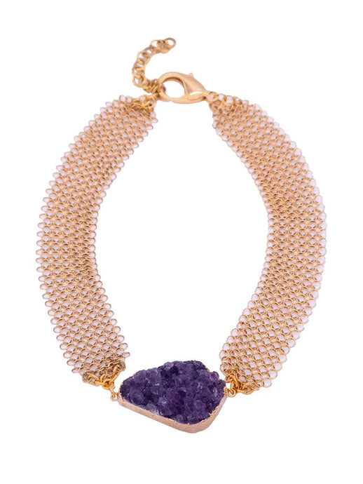 Raw Amethyst Cluster Gemstone Necklace