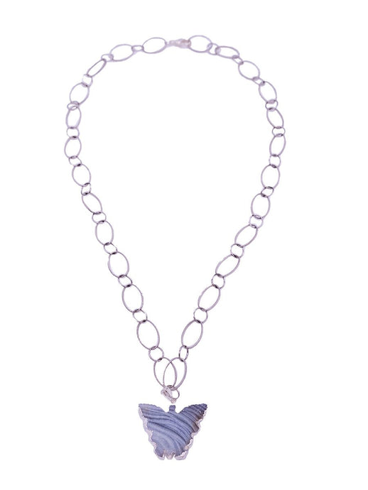 Desert Vibe Butterfly Gemstone Necklace Silver