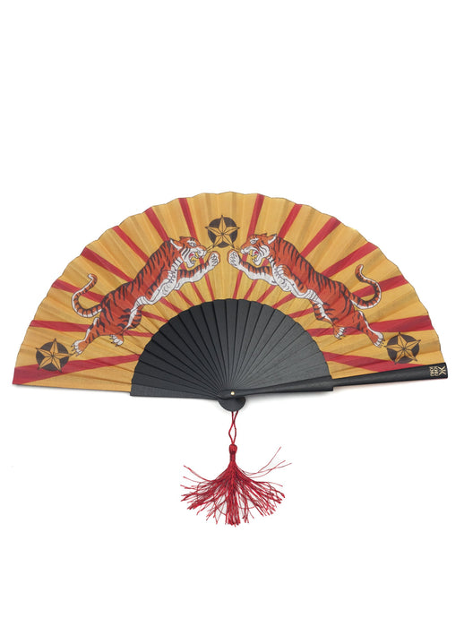 Tiger Tiger hand-fan from Khu Khu  - 2 symmetrical tigers with red lines like sun rays in background