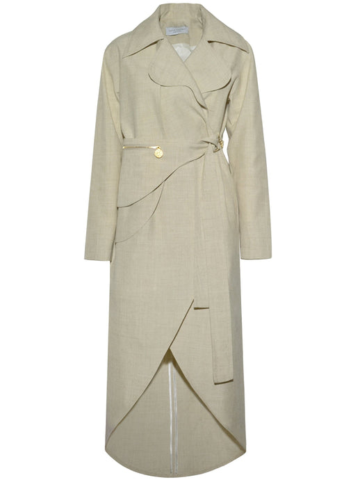 Linen Trench Coat in Beige