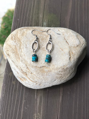Turquoise Silver Plated Oval Earrings