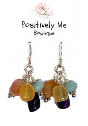 Amazonite, Fluorite, Carnelian, Honey Jade, and Amethyst Earrings