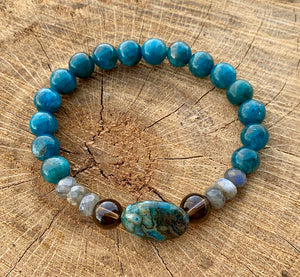 Blue Apatite, Smoky Quartz and Labradorite Bracelet