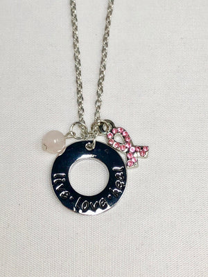 Breast Cancer Live, Love, Heal Necklace with Rose Quartz Dangle