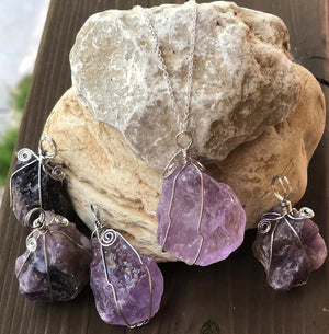 Amethyst Crystal Wire Wrapped Necklace
