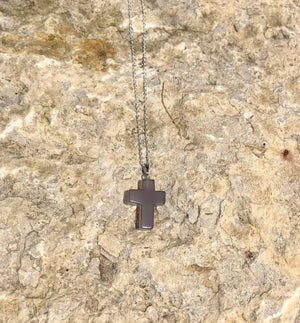 Healing Natural Gemstone Cross Necklace with Sterling Silver Chain