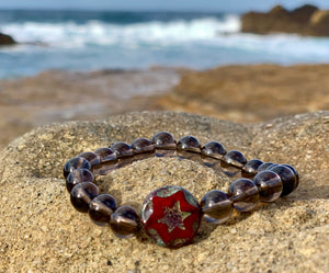 Czech glass star bead and Smoky Quartz Balance Bracelet