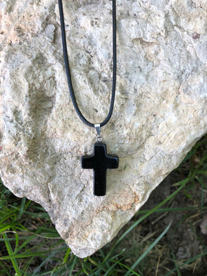 Healing Natural Gemstone Cross Necklace with Black Leather Cord
