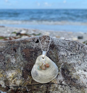 Shell and Agate Sterling Silver Necklace