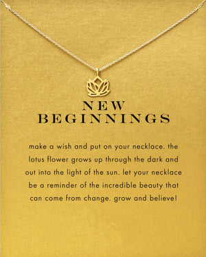 New Beginnings Lotus Necklace in Gold or Silver