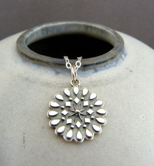 Resilience and New Beginnings Mandala Sterling Silver Necklace