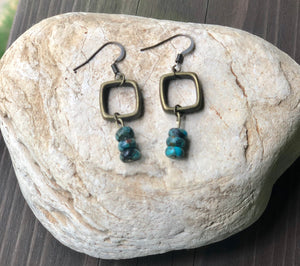 Turquoise Antique Bronze Earrings