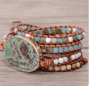 Blue Earth Jasper Boho Leather Wrap Bracelet