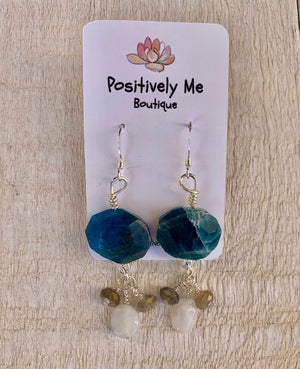 Moonstone, Labradorite and Blue Apatite Sterling Silver Earrings