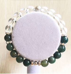 Aquatic Agate and Clear Quartz Bracelet